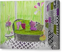 My Happy Place -- Drawing Of Colorful Moroccan Porch Acrylic Print