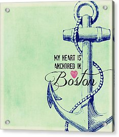 My Heart Is Anchored In Boston Navy Acrylic Print