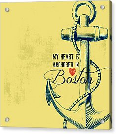 My Heart Is Anchored In Boston Yellow Acrylic Print