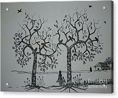 My House Is On That Side Acrylic Print by Usha Rai