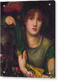 My Lady Greensleeves Acrylic Print by Dante Gabriel Rossetti
