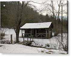 My Lil Cabin Home On The Hill In Winter Acrylic Print