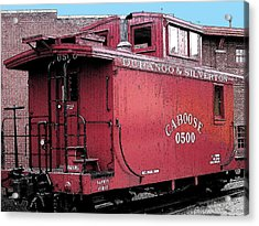 Acrylic Print featuring the digital art My Little Red Caboose by Gary Baird