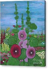 My Mother's Garden Hollyhocks Acrylic Print