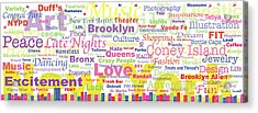 My New York In Words Acrylic Print by Kristi L Randall
