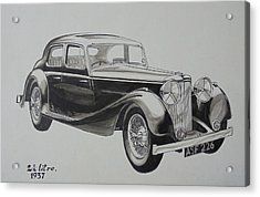 Acrylic Print featuring the drawing My Old Jag. by Mike Jeffries