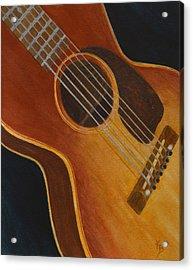 Acrylic Print featuring the painting My Old Sunburst Guitar by Karen Fleschler