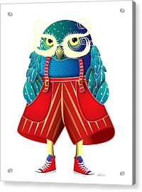 My Owl Red Pants Acrylic Print by Isabel Salvador