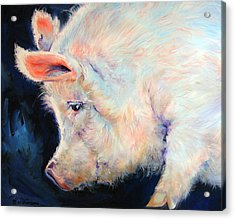 My Pink Pig  For A Lucky Day By M Baldwin Acrylic Print by Marcia Baldwin
