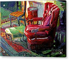 My Red Reading Chair Acrylic Print