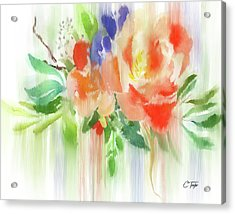Acrylic Print featuring the painting My Roses Gently Weep by Colleen Taylor