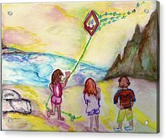 Acrylic Print featuring the painting My Sister My Brother My Kite by Helena Bebirian