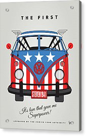 My Superhero-vw-t1-cap America Acrylic Print by Chungkong Art