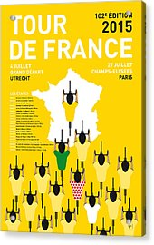 My Tour De France Minimal Poster Etapes 2015 Acrylic Print