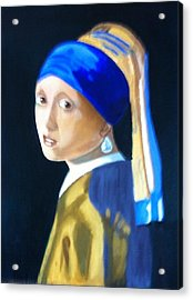 Acrylic Print featuring the painting My Version-girl With The Pearl Earring by Rod Jellison