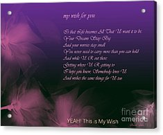 My Wish For You.. Rascal Flatts Acrylic Print