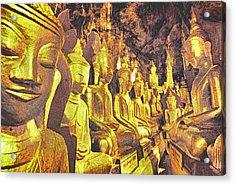 Myanmar Buddhas Acrylic Print by Dennis Cox WorldViews
