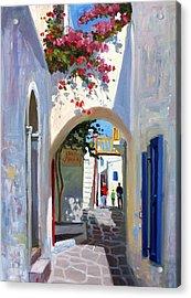 Mykonos Archway Acrylic Print by Roelof Rossouw