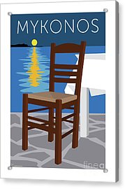 Mykonos Empty Chair - Blue Acrylic Print