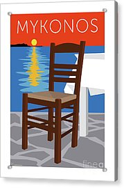 Mykonos Empty Chair - Orange Acrylic Print