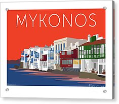 Mykonos Little Venice - Orange Acrylic Print