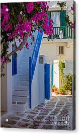 Mykonos Staircase Acrylic Print by Inge Johnsson