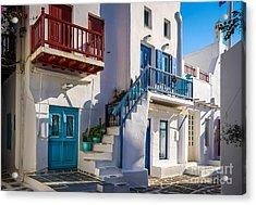 Mykonos Stairs And Balconies Acrylic Print by Ken Andersen