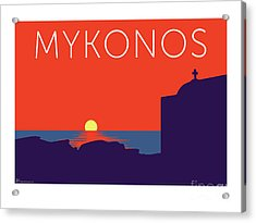 Mykonos Sunset Silhouette - Orange Acrylic Print