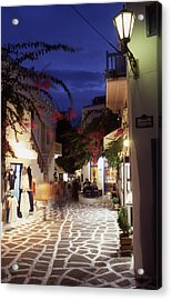 Mykonos Town At Night Acrylic Print by Steve Outram