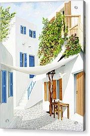 Mykonos Walk - Prints From My Original Oil Painting Acrylic Print