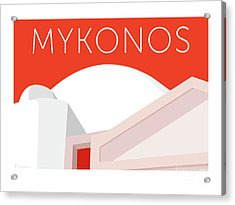 Mykonos Walls - Orange Acrylic Print