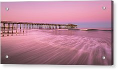 Acrylic Print featuring the photograph Myrtle Beach Fishing Pier At Sunset Panorama by Ranjay Mitra