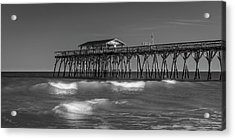 Myrtle Beach Pier Panorama In Black And White Acrylic Print