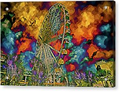 Acrylic Print featuring the photograph Myrtle Beach Skywheel Abstract by Bill Barber