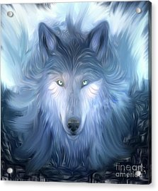 Mysterious Wolf Hand Painted Acrylic Print by Heinz G Mielke