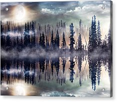 Acrylic Print featuring the mixed media Mystic Lake by Gabriella Weninger - David