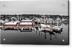Mystic Seaport In Winter Acrylic Print by Petr Hejl