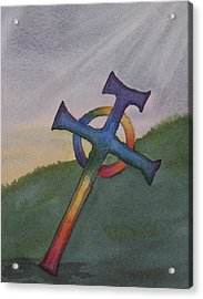 Mystical Celtic Cross Acrylic Print by Debbie Homewood