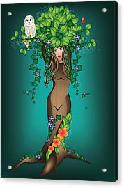 Mystical Maiden Tree Acrylic Print by Serena King