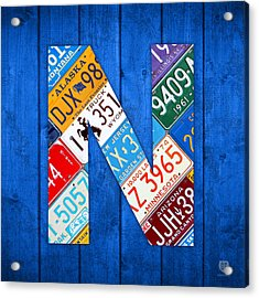 N License Plate Letter Art Blue Background Acrylic Print by Design Turnpike