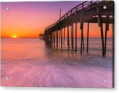 Acrylic Print featuring the photograph Nags Head Avon Fishing Pier At Sunrise by Ranjay Mitra