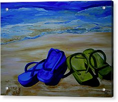 Naked Feet On The Beach Acrylic Print