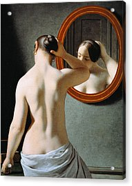 Naked In The Mirror Acrylic Print by Johan Frederik Eckersberg