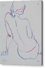 Naked Woman Sitting With Bare Back Acrylic Print by Vitali Komarov