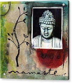Namaste Buddha Acrylic Print by Linda Woods