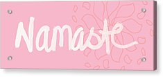 Namaste Pink With Flower- Art By Linda Woods Acrylic Print