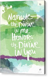 Namaste- Watercolor Card Acrylic Print by Linda Woods