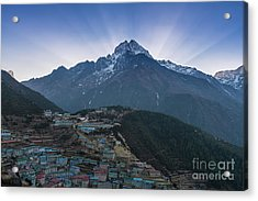 Acrylic Print featuring the photograph Namche And Thamserku Peak Morning Sunrays by Mike Reid