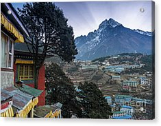 Acrylic Print featuring the photograph Namche Monastery Morning Sunrays by Mike Reid