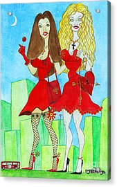 Nancy And Nicole Going Out At Night Acrylic Print by Don Pedro De Gracia